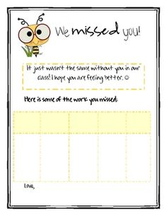 Freebie! This form is a great way to let your students and parents know what work was missed while their child was sick! Attach it along with the student's  make-up work and you're good to go!