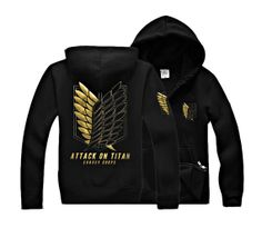 Attack on Titan Scouting Legion Eren Jaeger Survey Corps Black Hoodie Cosplay Jacket Gold Bronzing Jack107BKGD on Etsy, $44.99