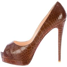 Pre-owned Christian Louboutin Crocodile Lady Peep Pumps (€1.095) ❤ liked on Polyvore featuring shoes, pumps, brown, brown pumps, christian louboutin shoes, platform pumps, peep toe shoes and christian louboutin pumps