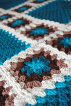 teal and brown granny squares - Google Search