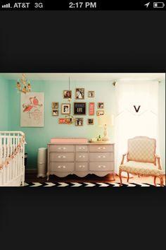 vintage baby room - love the dresser