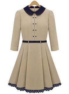 Apricot Long Sleeve Contrast Lapel Pleated Dress