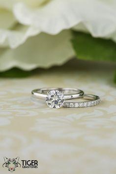 1 Carat Half Eternity Round Solitaire Wedding by TigerGemstones