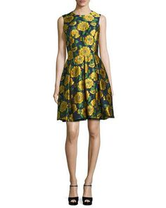 TCQRB Michael Kors Collection Sleeveless Floral-Print Fit-&-Flare Dress, Indigo/Daffodil