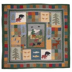 Patch Magic The patched pictures in this quilt will make you feel as if you are in a cottage in the middle of a forest with coniferous trees and birds flying above it in the sky, while the beasts and moose stroll around and fish in the pond. This colorful design will calm and inspire your senses. Size: Super Queen Quilt + 4 Additional Pieces Twin Quilt Size, King Size Quilt, Queen Quilt, Quilt Sets, Quilt Blocks, California King Quilts, Shabby, Man Quilt, Moose Quilt