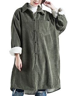 9c24a0d55c87c Vogstyle Women s Plus Size Fleece Inner Vintage Corduroy Coat Green