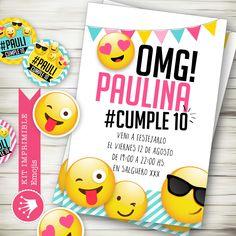 Kit imprimible digital para cumpleaños emojis emoticones. Invitación digital. Decoración de fiestas infantiles y eventos.  Printable party emojis.
