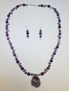 """BonBri's """"Purple Wrapture"""" Jewelry Set. Wire Wrapped Raw Amethyst. Quartz, Tigers Eye & Silver Beads"""