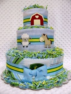 Baby Diaper Cakes John Deere/Farm Boys Baby Shower Gift or Cenrerpiece | babydiapercakesbydianna - Children's on ArtFire