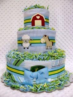 Baby Diaper Cakes John Deere/Farm Boys Baby Shower Gift or Cenrerpiece | babydiapercakesbydianna - Children's on ArtFire