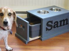 THIS is what Keith needs to build for Lucy's food bowls/food storage in the kitchen!  {white with beadboard sides + silver drawer pull}...would look so cute!