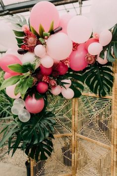 Tropical Bridal Shower in a Greenhouse - Inspired by This - Shower . - Tropical bridal shower in a greenhouse – inspired by this – - Bridal Shower Decorations, Balloon Decorations, Wedding Decorations, Wedding Ideas, Tropical Party Decorations, Tropical Party Foods, Fall Wedding, Wedding Colors, Wedding Ceremony