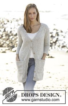 Evening Promenade jacket with deep v-neck and pockets by DROPS Design. Free Knitting Pattern Knitting Machine Patterns, Sweater Knitting Patterns, Knit Patterns, Free Knitting, Knitting Needles, Knit Cardigan Pattern, Crochet Jacket, Knit Jacket, Knit Crochet