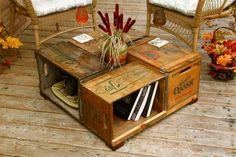 Mesita hecha con cajas de madera
