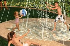 Splash pads are cheaper and safer than pools. // 32 Cheap And Easy Backyard Ideas That Are Borderline Genius