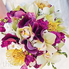Real Weddings - An Elegant Tropical Wedding in Playa Mujeres, Mexico - Calla Lilly and Orchid Bouquet