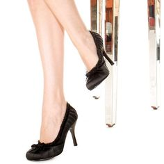Includes: One pair of adult black high heel shoes with rullfed trim. Available in women's sizes 6, 7, 8, 9 and 10. #dental #poker