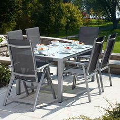 Briza Dining Set Includes 1 rectangular table and 6 armchairs Aluminium frame All-weather mesh fabric Outdoor Tables, Outdoor Decor, 7 Piece Dining Set, Deck Decorating, Backyard, Patio, My Dream Home, Outdoor Furniture Sets, Bbq
