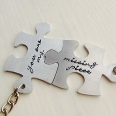 Hand stamped Interlocking Jigsaw Puzzle Piece Keyring Set - you are my missing piece - Worldwide delivery by AbercrombieCumbes on Etsy