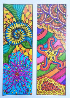 Printable Zentangle Bookmarks for Coloring (on etsy)