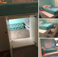 Use kitchen cabinets to loft bed, but keep the back out of one of them so you create a secret space How cool ! is part of Used kitchen cabinets - Room Design, Cool Rooms, Awesome Bedrooms, Bedroom Design, Bedroom Diy, Room Inspiration, Girl Room, Secret Rooms, Cute Bedroom Ideas