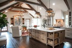 """magnolia homes joanna gaines Magnolia Homes Might turn that """"living area"""" into more of a breakfast nook instead Farmhouse Kitchen Island, Rustic Kitchen, Kitchen Decor, Kitchen Islands, Kitchen Storage, Kitchen Ideas, Wooden Kitchen, Kitchen Country, Kitchen White"""