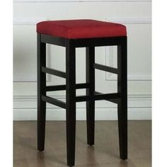 Armen Living Sonata 26 in. Red Microfiber and Black Wood Finish Backless Barstool - The Home Depot Red Bar Stools, Modern Bar Stools, Home Bar Furniture, Dining Furniture, Black Counters, Backless Bar Stools, Counter Height Bar Stools, Island Stools, Contemporary Furniture