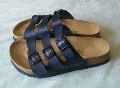 NWOT Birkenstock Betula Three Strap Leather Sandals Navy Size 36 NWOT #Betula #Slides