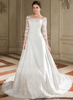 [US$ 196.99] A-linjeformat Off-shoulder Ringning Chapel släp Satäng Bröllopsklänning med Spetsar Pärlbrodering Paljetter