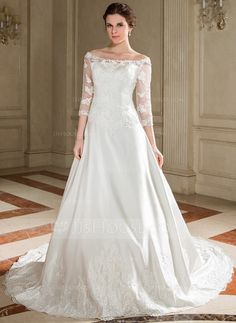 Wedding Dresses - $194.49 - A-Line/Princess Off-the-Shoulder Chapel Train Satin Tulle Wedding Dress With Lace Beading Sequins (002000095) http://jjshouse.com/A-Line-Princess-Off-The-Shoulder-Chapel-Train-Satin-Tulle-Wedding-Dress-With-Lace-Beading-Sequins-002000095-g95