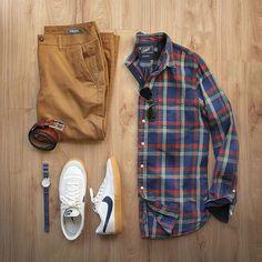 Easy pairings for lazy days. Shirt: @grayers Pants: @bonobos Shoes: @nike for @jcrew Killshot 2 Watch: @timex for @jcrew Belt: @jcrew Glasses: @rayban