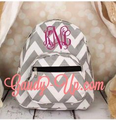 Back to School! Monogrammed Grey and White Chevron Mini Backpack by GaudyUpTX on Etsy