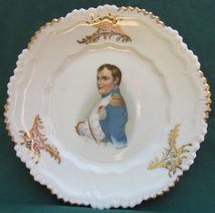 Vintage Napoleon Bonaparte Pottery Portrait Scalloped Plate Gold Gilt Flowers
