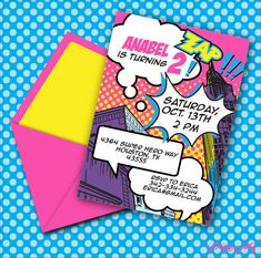 INSTANT DOWNLOAD, Super Hero Girl Printable 5 x 7 Invitation Pink, You Edit Yourself in Adobe Reader on Etsy, $14.95