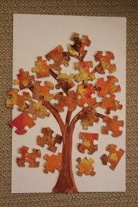 Fall Recycled Puzzle Trees (for those puzzles that are missing pieces! Genius!)