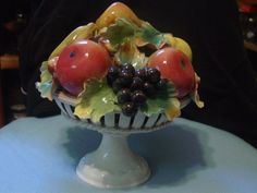 Vintage Capodimonte Large Fruit in Bowl Figurine #Capodimonte