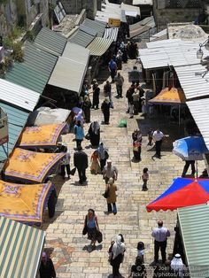 Just inside the Damascus Gate in the Old City of Jerusalem is a busy souq. This is the view from atop the gate.