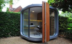 "British-made OfficePODS are billed as ""garden-based"" work environments that sequester home workers from the disruptions of home life. It's literally a pod – decked with office necessities like desk, wiring, storage – that is stationed in whatever outdoor space you may have to accommodate it. A definitive work environment detached from the home."