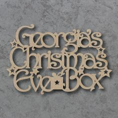 Personalised Christmas Eve Box Sign, made from 4mm thick mdf For that Unique touch at Christmas around the home Smooth finish ready to paint and decorate Measurements approx: 30cm w x 20 h 20cm x 13cm h Sizes specified are based on the longest dimension Extra hearts or stars may be used in the final cut item where needed to join personalised words or to strengthen the design for cutting. Please specify any special requirements at checkout. As all of our Signs, Blanks and Embe...