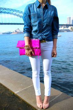 Adore this outfit! Chambray, white skinnies, neon clutch