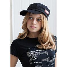 "ASAOKA RETRO STYLE ARMY CADET CAP Retro style black army cap with ASAOKA vinyl label applique. The vinyl label says ""朝岡・ストランド衣料品 "" -""Asaoka・Strand Clothing"" - 100% heavy washed cotton. - Herringbone weave fabric - Rip-Strip size adjuster レトロスタイルアーミーキャップ。 ヘリンボーン織りの生地, 100%コットン、黒色。"