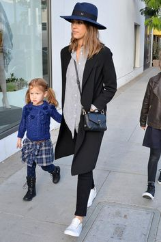 Jessica Alba wearing Maison Michel Virginie Hat in Navy, Tory Burch 797 Satchel, Vans Leather Old Skool Zip Sneakers in True White/Gold, ATM Anthony Thomas Melillo Candy Stripe Top, Joseph Man Wool and Cashmere-Blend Coat and Paige Transcend Verdugo Crop Jeans in Black Overdye