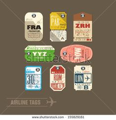 Airline tags. Checklist for Travelers. Vector  by Original work, via Shutterstock