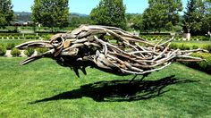 3 Extra large ravens commissioned for Kelham Vinyards in St. Helena, CA.  10' tall. Matt Torrens Driftwood Sculpture Artist http://www.driftwoodhorse.com/#portfolio.html