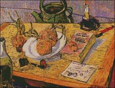 Nature Morte aux Oignons- Vincent van Gogh. Fine art cross stitch pattern. Stitch count 252w x 195h 54 colors http://www.artofstitching.com/index.php?main_page=product_info&cPath=4_16&products_id=1509