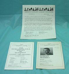 1974 Sarasota FL Community Concert Programs R Merrill Hungarian Ballet Gypsy VTG