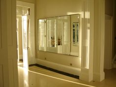 hand made stainless steel polished frame mirror - bevelled mirrors inset. Stainless Steel Polish, Beveled Mirror, Bathroom Medicine Cabinet, Bathroom Lighting, Bathtub, Frame, Mirrors, Handmade, Furniture