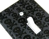 Gray and Black Skull Light Switch Cover Halloween Decor Rockabilly Home Children Decor Switch Plate 700