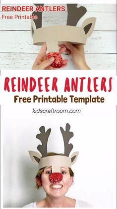 PRINTABLE REINDEER ANTLERS HAT - Make your own cute Reindeer Antlers headband. This kids Christmas craft is so fun! Print the free template onto plain card to paint or trace it straight onto coloured Diy Christmas Hats, Childrens Christmas Crafts, Christmas Card Crafts, Holiday Crafts For Kids, Preschool Christmas, Kids Christmas, Fall Crafts, Santa Crafts, Printable Christmas Cards