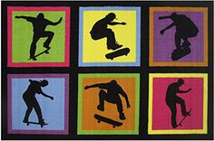 Fun Rugs Fun Time Skateboarding Fun Novelty Rug 39 x 58 Multicolor *** Click on the image for additional details.